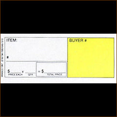 12 Ticket Clerk Sheets, Style D w/ CUSTOM BACKSIDE PRINT (500/pack)