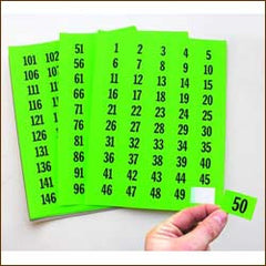 "Pre-Numbered 1"" x 1-1/2"" Lotting Labels (1 to 500) 4 color choices"