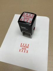 """No More Bids"" Rubber Stamp"