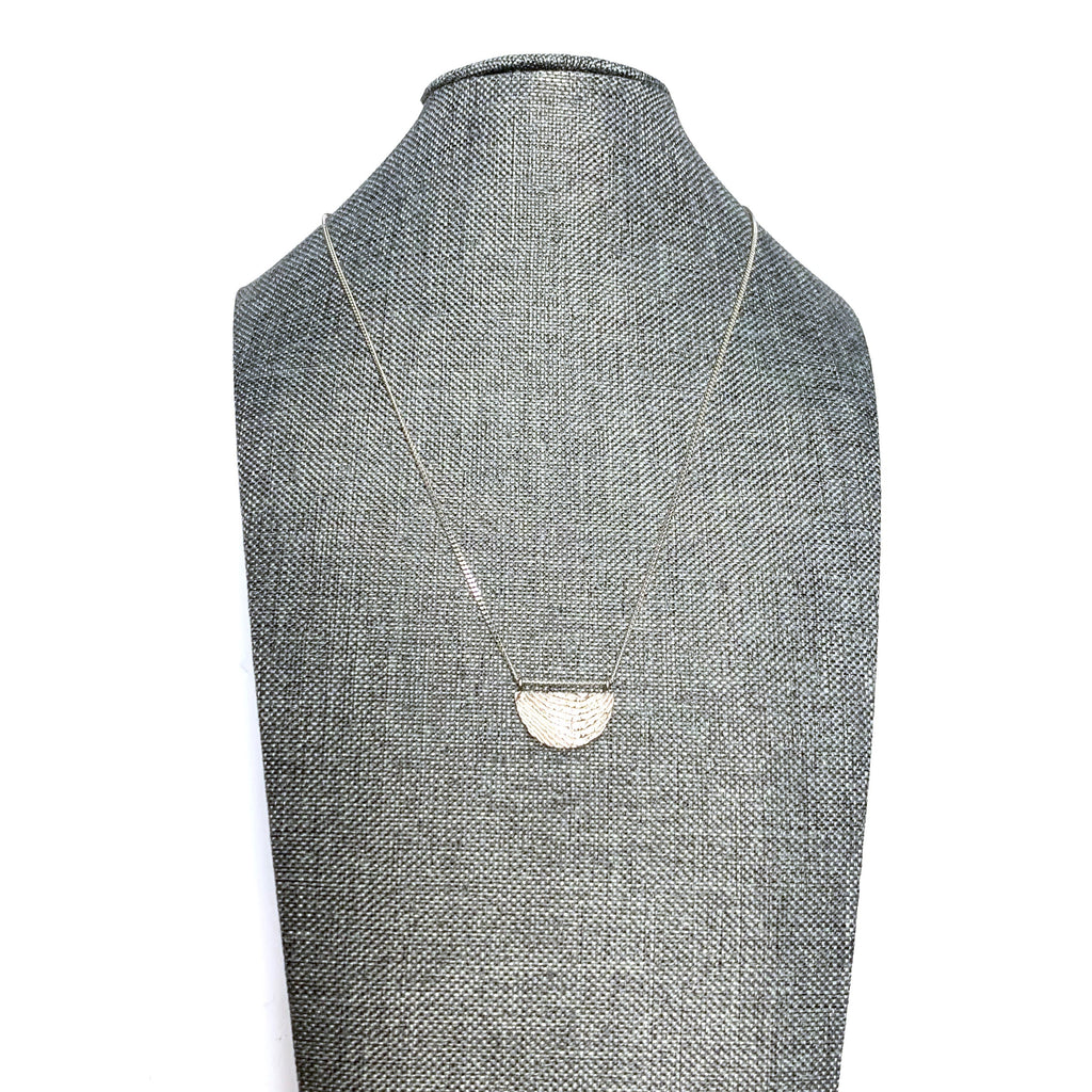 MENT Jewellery Necklace - Silver Textured Half Circle