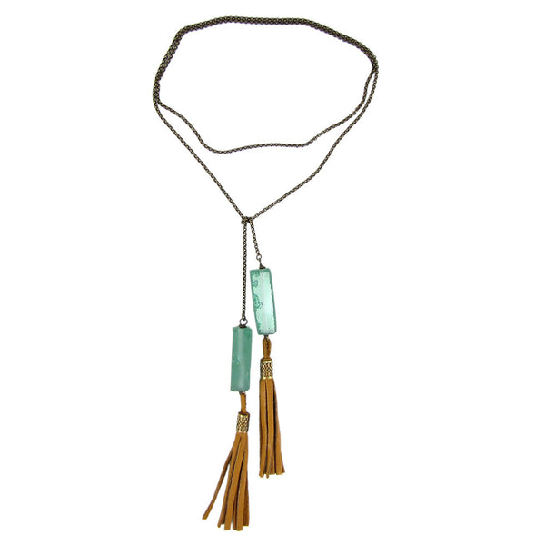 Green Glass Lariat Necklace