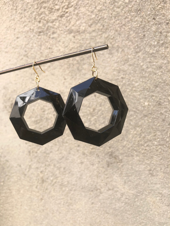 Jet Hoop Earrings