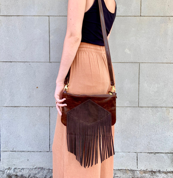 Custard's Crossbody (Brown fringe)