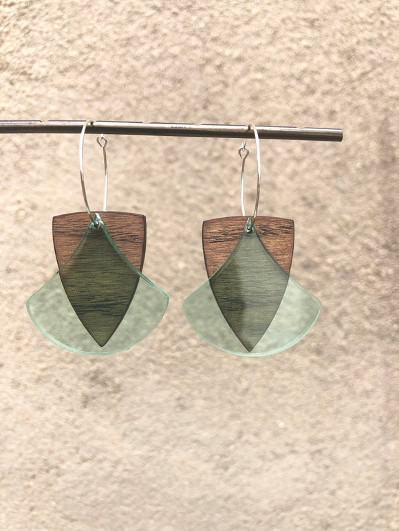 Wood and Ginkgo Earrings