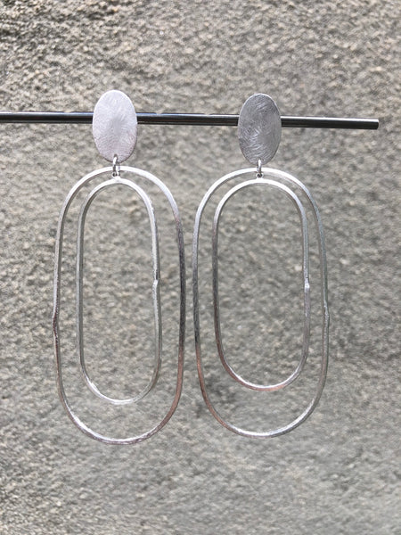Rhodium Orbit Earrings