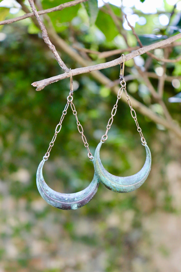 Verdigris Waxing Moon Earrings