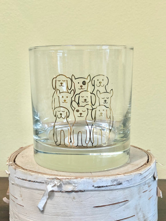 Dogs Rocks Glass