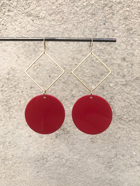 Lipstick Lucite Mod Disc Earrings