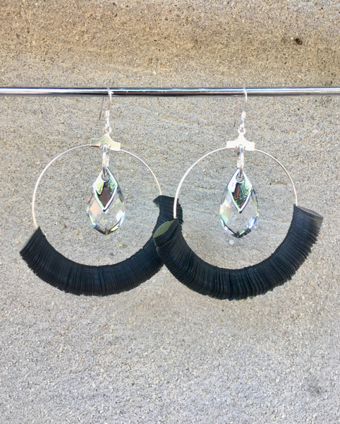 Silver and Black Sequin Hoops