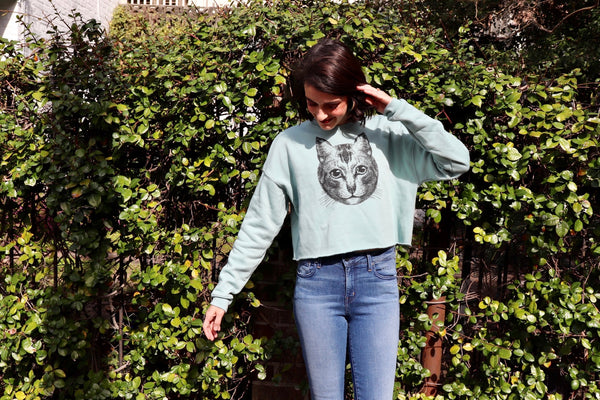 Cat Face Crop Sweatshirt