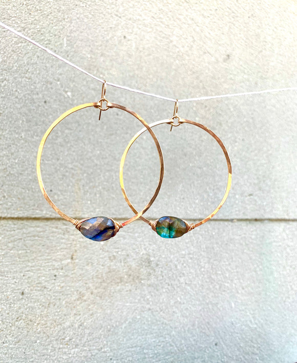 Labradorite Orbit Hoops