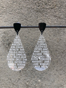 Clear Women of History Post Earrings