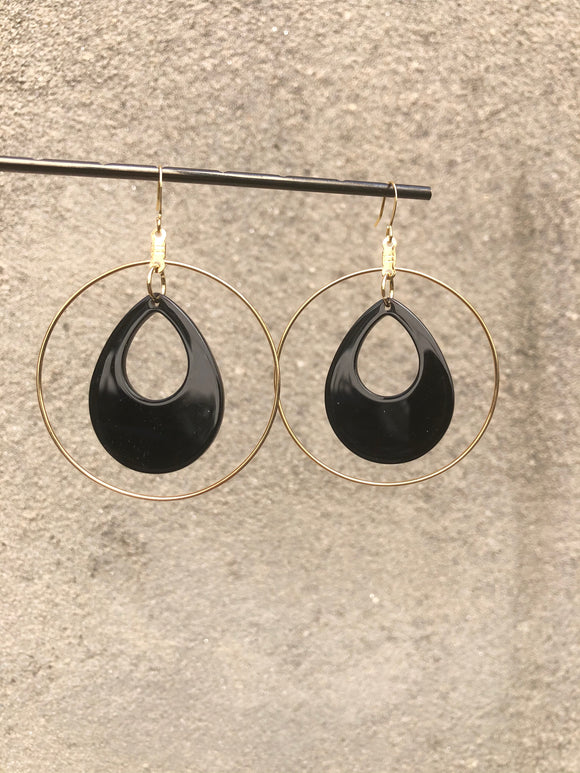 Jet Lucite Teardrop Hoop Earrings