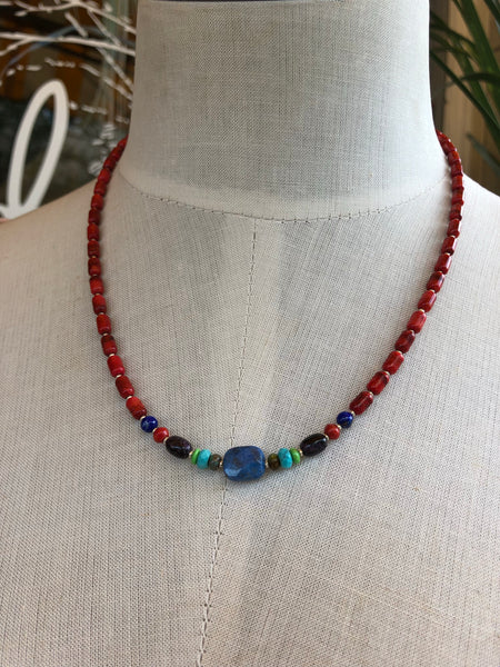 Sponge Coral, Turquoise, and Lapis Necklace