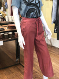 Brick Wide Leg Linen Cropped Pant