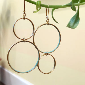 Double Blue Circle Earrings