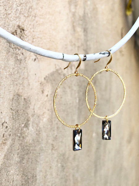 Hammered Hoops with Crystals