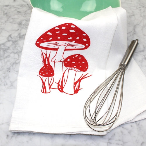 Toadstools Flour Sack Tea Towel