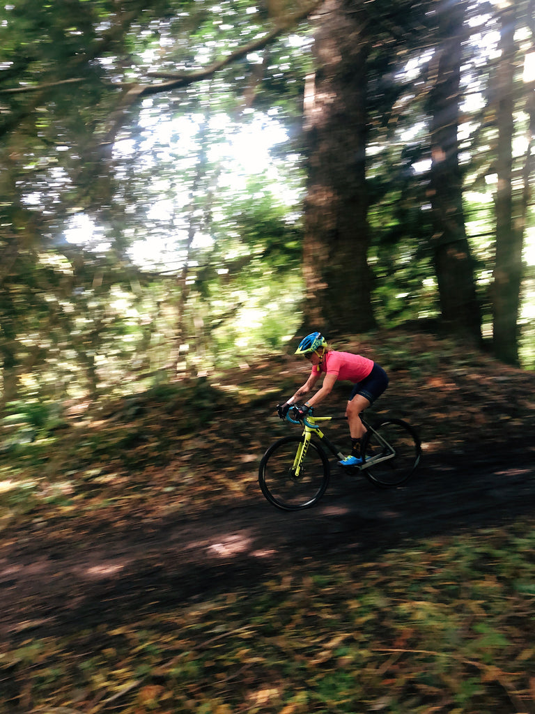 Delia Massey Testing Her PNW Components Bachelor Dropper Post On Her Cyclocross Bike. Photo by Kelly Nowels