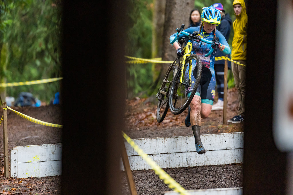 Delia Massey Testing Her PNW Components Bachelor Dropper Post On Her Cyclocross Bike. Photo by Patrik Zuest