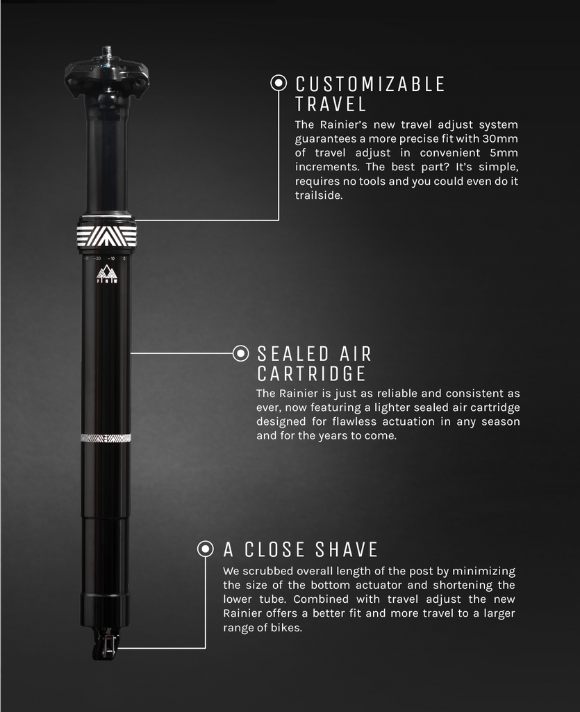PNW Components introduces the redesigned Rainier Dropper Post complete with travel adjust.