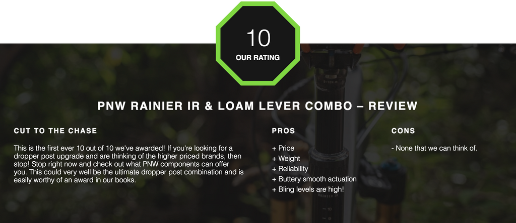 PNW Components Rainier IR Dropper Post and Loam Lever Combo Review by Tyres and Soles