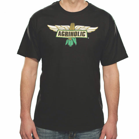 Agriholic Wings Logo Black T-Shirt