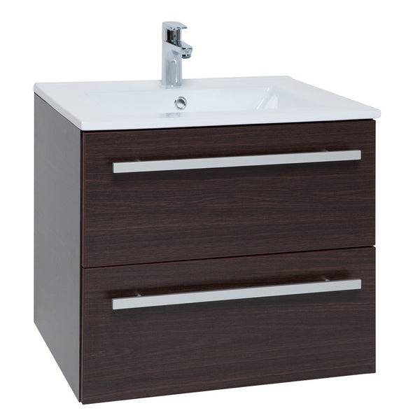 Purity 600mm Wall Mounted Drawer Unit & Basin Chestnut