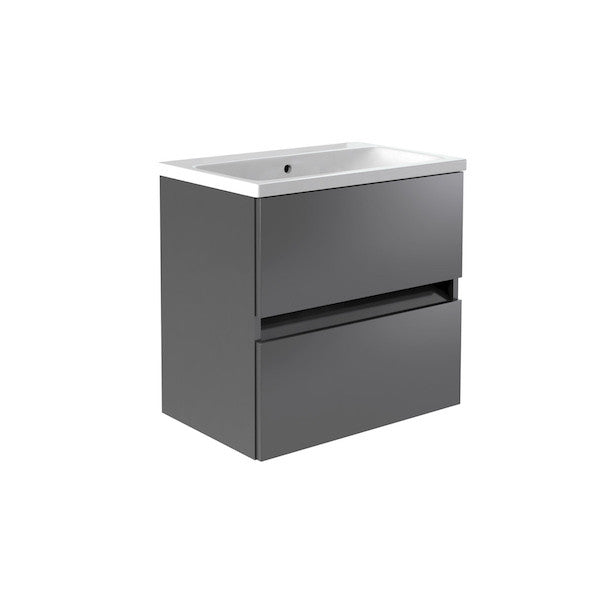 Ikon 600mm Wall Mounted Drawer Unit & Basin - grey