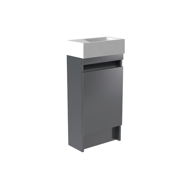 Ikon 400mm Floor Standing Cloakroom Unit & Basin - grey