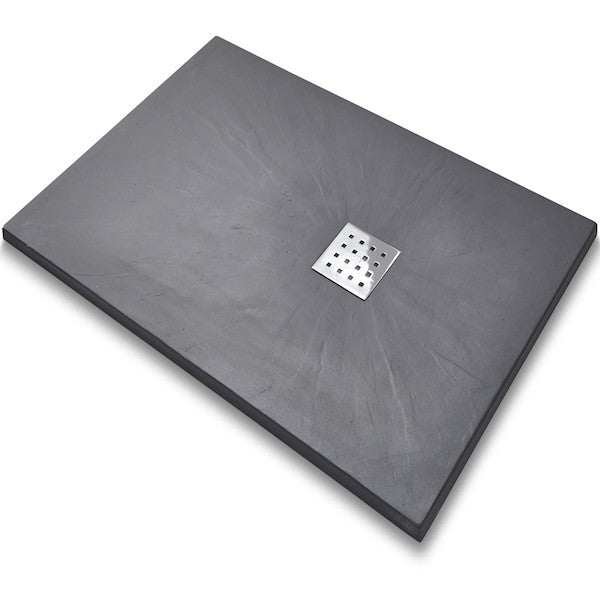 Rectangle Graphite Slate Tray - Polished Chrome