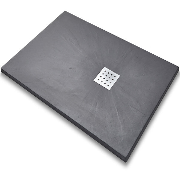 Rectangle Graphite Slate Tray - Matt Chrome