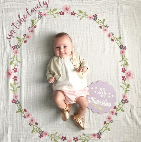 Isn't she lovely - Muslin blanket & milestone card set