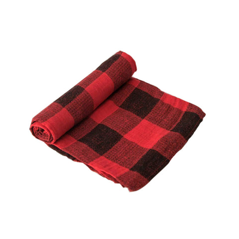 Red Plaid Muslin Swaddle - Little Unicorn