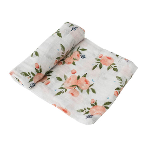 Watercolour Roses Muslin Swaddle - Little Unicorn