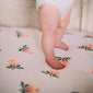 Cotton Muslin Cot Sheet - Watercolour Roses