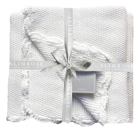 Knit Mini Moss Stitch Blanket 1005 Cotton - IVORY- PREORDER