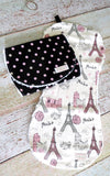 Baby Girl Burp Cloth Set - Eiffel Tower Burp Cloth Set - Black Pink Polka Dot Burp Cloth