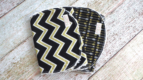 Baby Burp Cloths - Black Gold Baby Burp Cloth Set - Tribal Burp Cloth Set