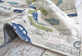 Baby Boy Blanket - Retro Ride Baby Blanket - Gray Minky Blanket