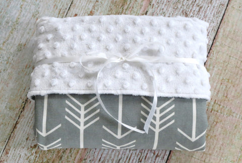 Arrow Baby Blanket - White Minky Blanket - Grey White Minky Blanket - Tribal Baby Blanket