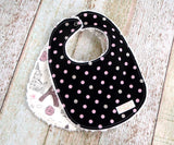 Baby Girl Bib Set - Eiffel Tower Bib Set - Black Pink Polka Dot Bib Set