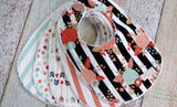 Mix and Match Bib Set - Baby Girl Bib Set - Flower Arrows Striped Bib Set