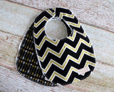 Baby Bib Set - Black Gold Bib Set - Tribal Bib Set