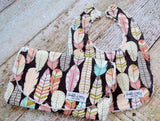 Baby Girl Bib and Burp Cloth Set - Feather Bib and Burp Cloth Set - Tribal Bib and Burp Cloth Set