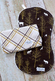 Baby Boy Burp Cloth Set - Woodland Burp Cloth Set - Gold Plaid Burp Cloth Set