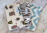 Baby Boy Burp Cloth Set - Owl Burp Cloth Set - Woodland Burp Cloth Set