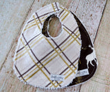 Baby Boy Bib Set - Woodland Bib Set - Gold Plaid Bib Set