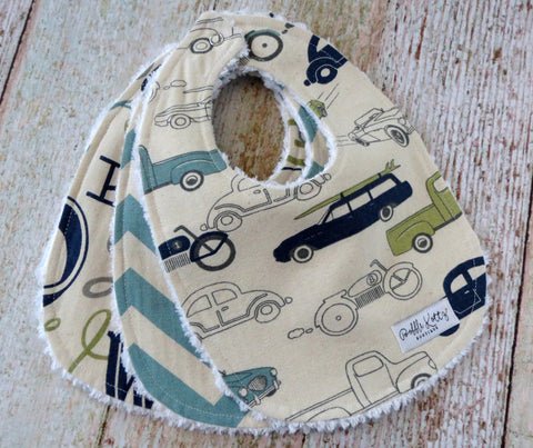 Baby Boy Bib Set - Retro Rides Bib Set - Retro Cars Trucks Bib Set