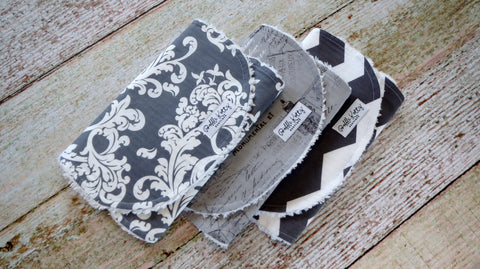 Baby Burp Cloths - Baby Girl Burp Cloths - Eiffel Tower Burp Cloth - Gray White Burp Cloths